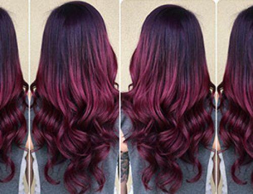 انواع مدل موی هایلایت شرابی روی موی مشکی